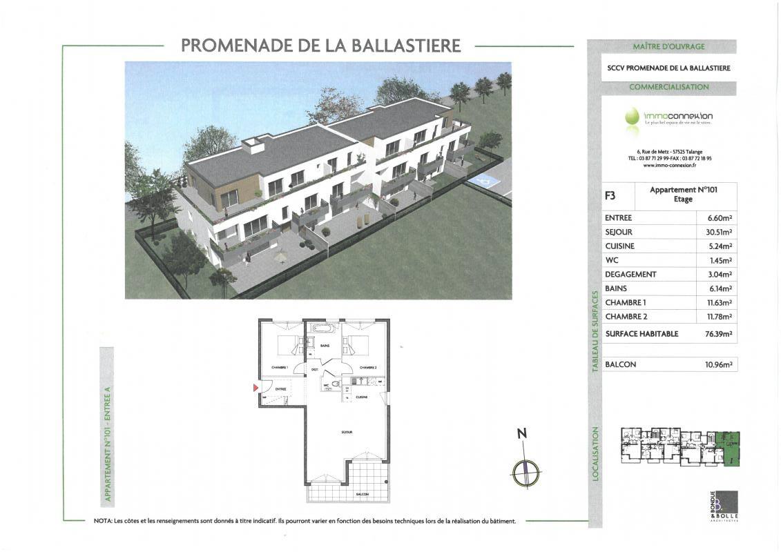Plan de l'appartement avec tableau des surfaces.